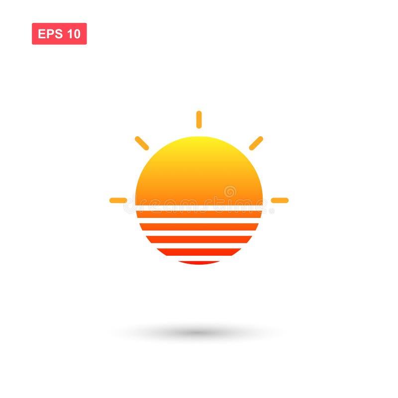 与被隔绝的日落颜色的时髦太阳商标 库存例证