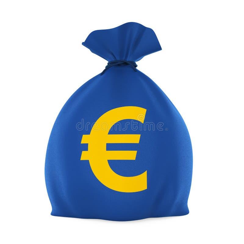 与被隔绝的欧洲货币符的金钱袋子 库存例证