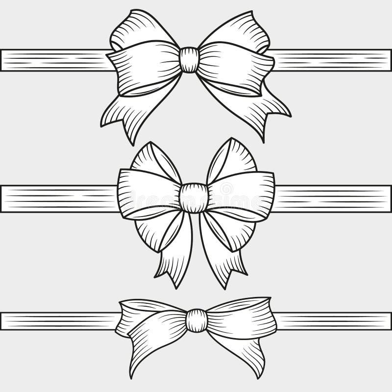 与被隔绝的水平的丝带的装饰手拉的弓 传统假日和礼物盒的装饰 也corel凹道例证向量 库存例证