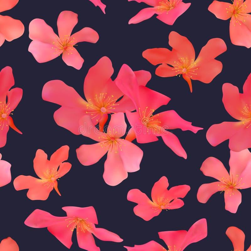与被隔绝的热带红色的无缝的样式开花美好的bl 皇族释放例证