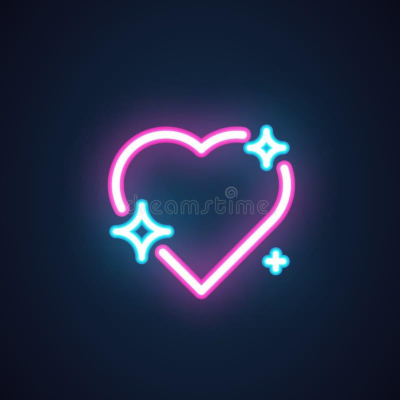 与被隔绝的蓝星的桃红色霓虹心脏 商店标志象,爱闲谈的,情人节的元素按钮 向量 皇族释放例证
