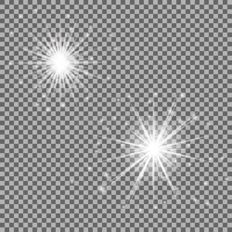 与被隔绝的透明度的发光的光线影响 透镜火光、光芒、星和闪闪发光 库存例证