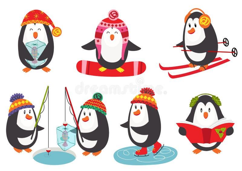 与被隔绝的逗人喜爱的企鹅企鹅skiingset的冬天海报  库存例证