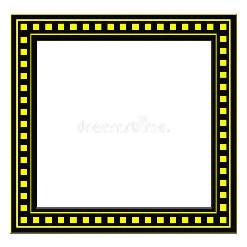 与被隔绝的黄色正方形的黑摄影框架 免版税库存图片