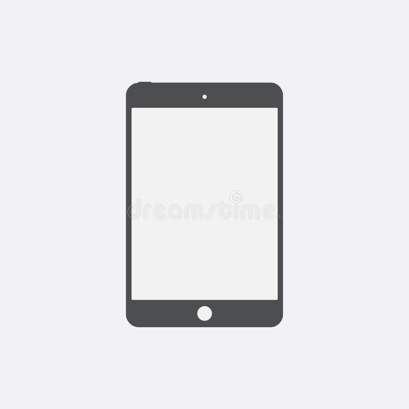 与被隔绝的黑屏的灰色片剂象 现代简单的平的设备标志 互联网片剂concep 皇族释放例证
