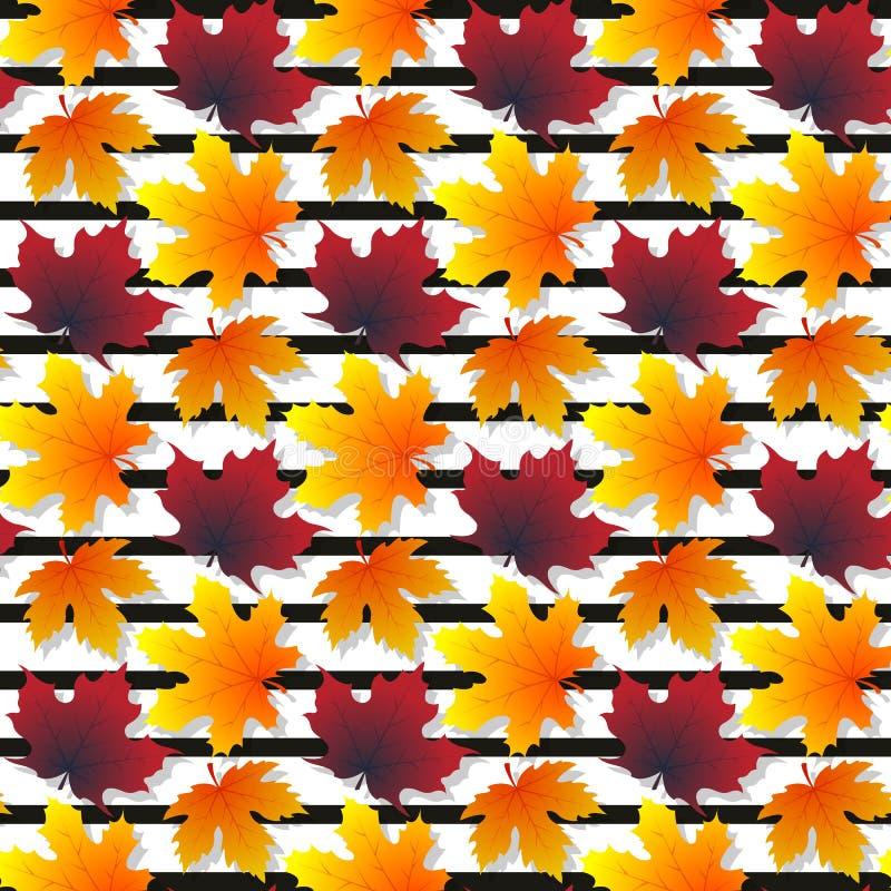 与被隔绝的元素的枫叶样式无缝的纹理 库存图片