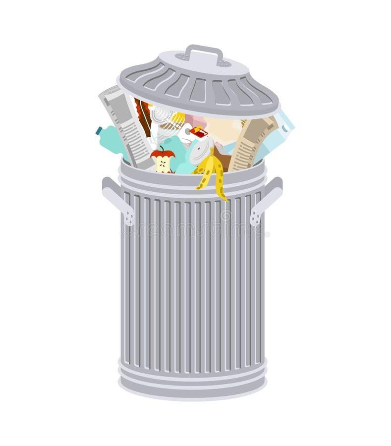 与被隔绝的垃圾的垃圾箱 与垃圾的自行车前轮离地平衡特技容器 皇族释放例证
