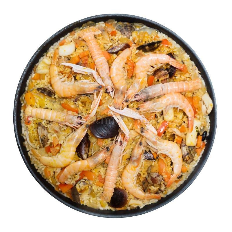 与被隔绝的海鲜肉菜饭的瓦伦西亚语米盘 免版税库存图片