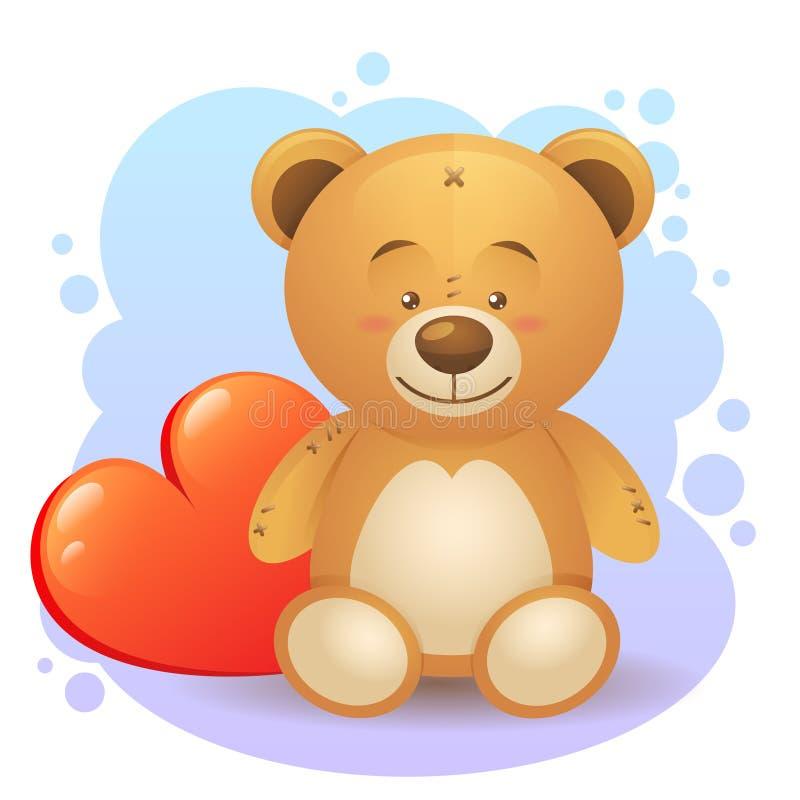 与被隔绝的爱恋的心脏礼物的逗人喜爱的玩具熊 向量例证