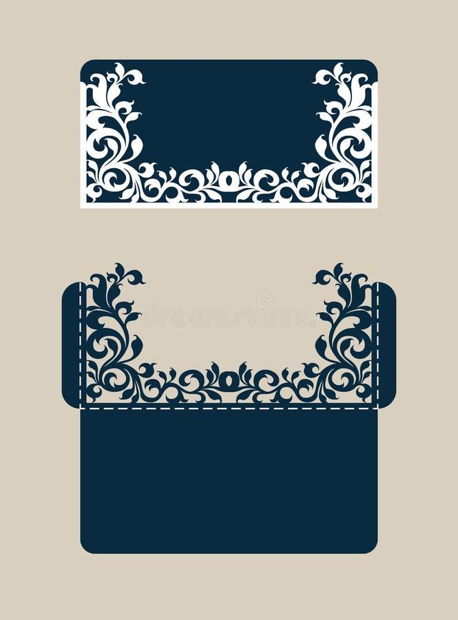与被雕刻的透雕细工样式的模板祝贺的信封 皇族释放例证