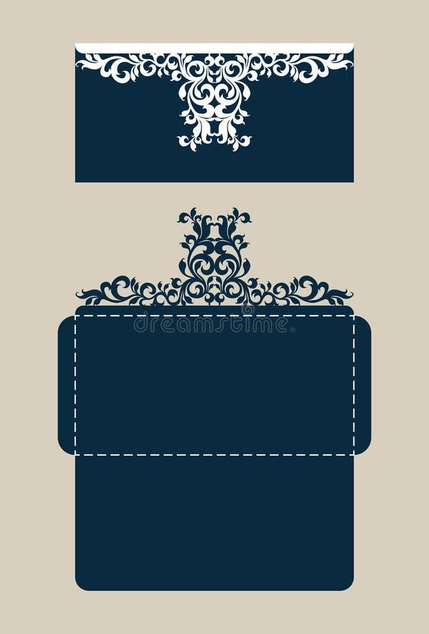 与被雕刻的透雕细工样式的模板祝贺的信封 向量例证