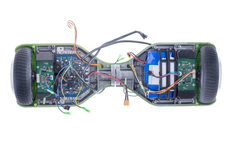 与被暴露的导线的电滑板 免版税库存照片