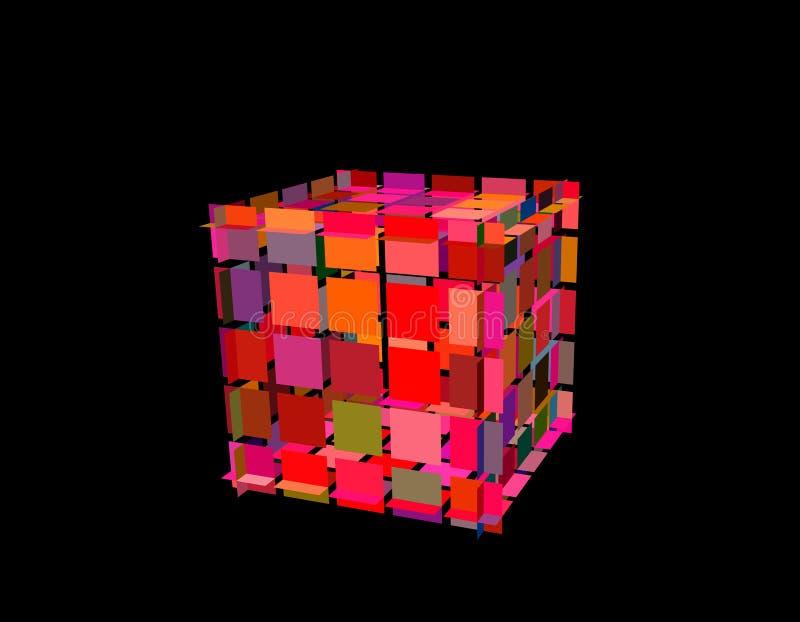 与裁减的抽象多角形立方体 3d传染媒介五颜六色的例证 向量例证