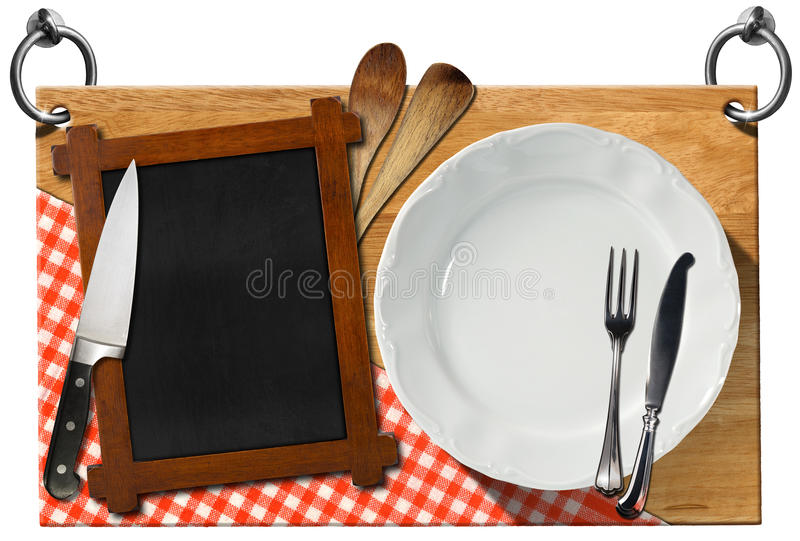 与裁减路线的餐馆牌 库存例证