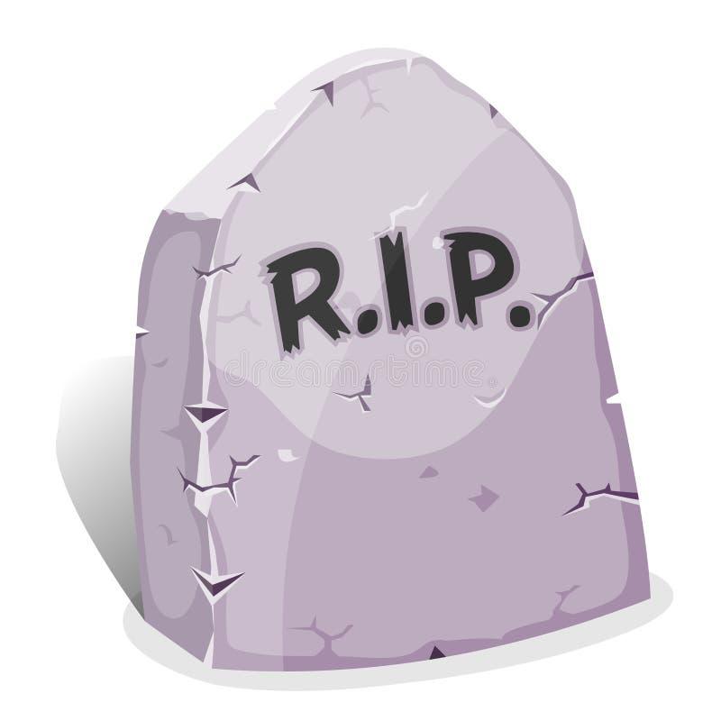 与裂口的动画片墓碑 向量例证
