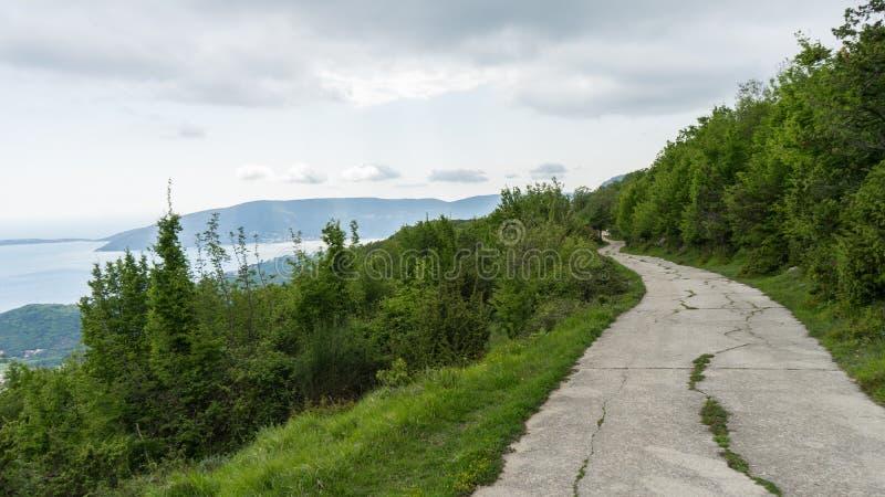 与裂缝的断裂路面和草和绿色森林小规模地 从山的看法到科托尔海湾,黑山 向a的道路 库存图片