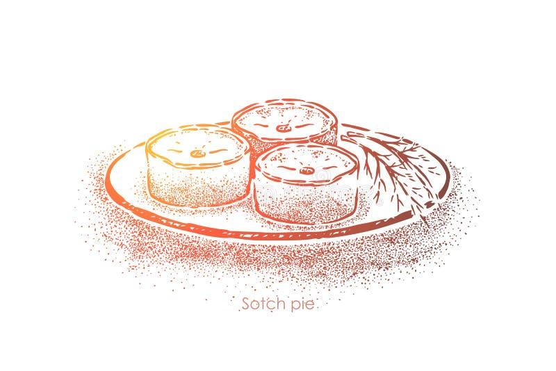 与装填,传统苏格兰盘的刻痕饼烘烤用剁碎的羊肉,全国食物,英国烹调 皇族释放例证