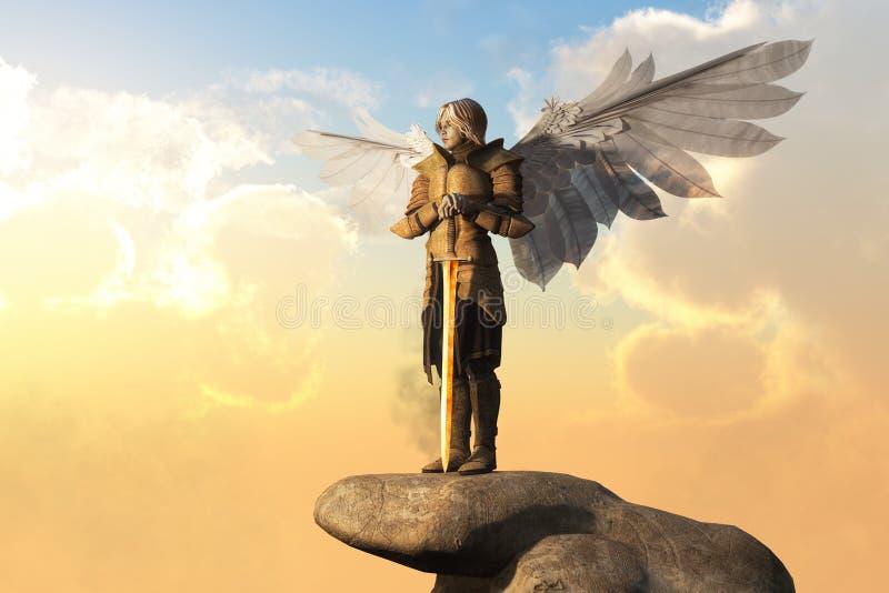 与装甲和剑的天使 皇族释放例证