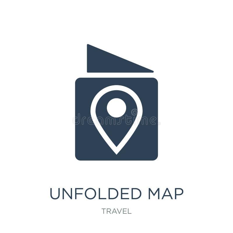 与装配标记象的展开的地图在时髦设计样式 与在白色背景隔绝的装配标记象的展开的地图 库存例证