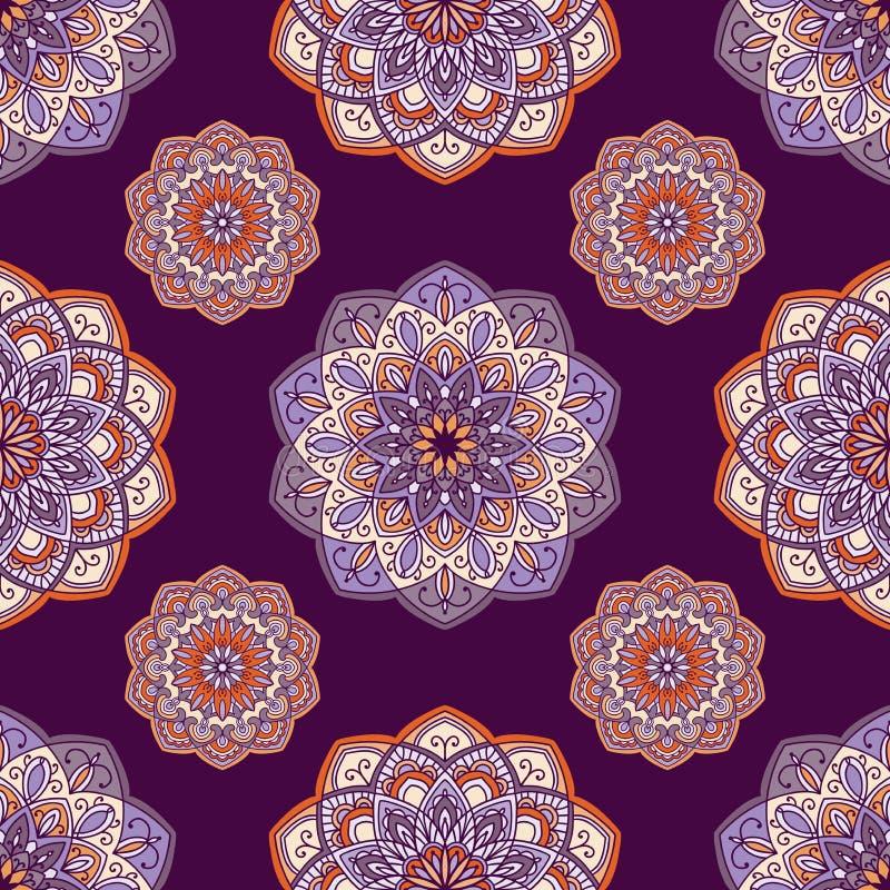 与装饰元素的手拉的背景在紫色,紫罗兰色和橙色颜色 库存例证