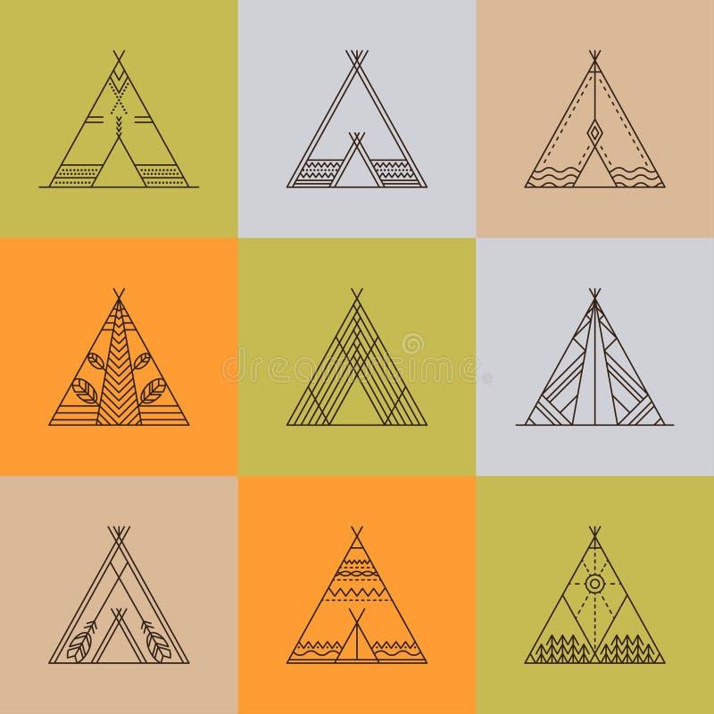 与装饰元素的圆锥形小屋 库存例证