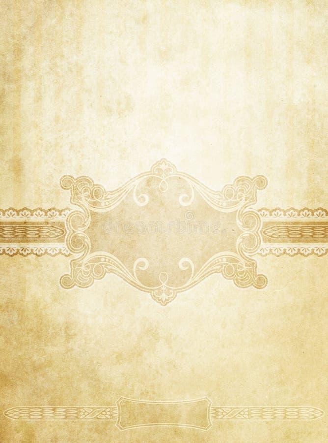 与装饰元素的老被弄脏的葡萄酒纸背景 皇族释放例证