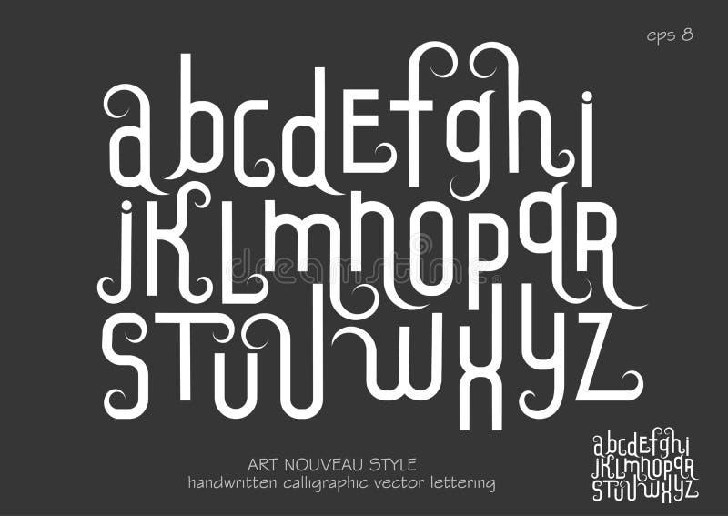 与装饰华丽的小写字母在艺术Nouveau样式 向量例证