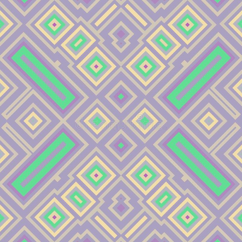 与装饰品和颜色的方形的无缝的纹理 库存例证