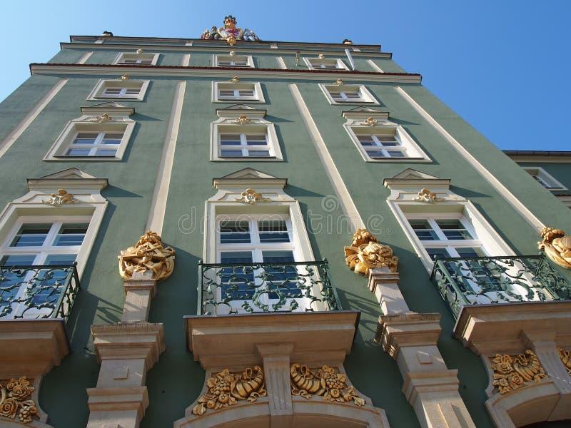 与装饰品注册处,什切青,波兰的传统建筑 免版税库存照片