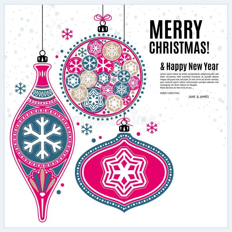 与装饰品球和雪花的圣诞卡 库存例证