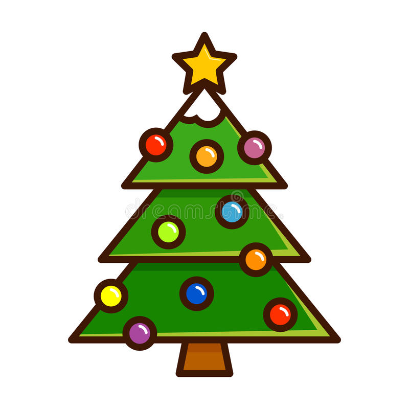 与装饰品的圣诞树在简单的传染媒介艺术图片