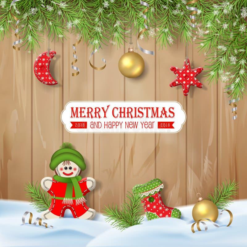 与装饰品的圣诞节背景 库存例证