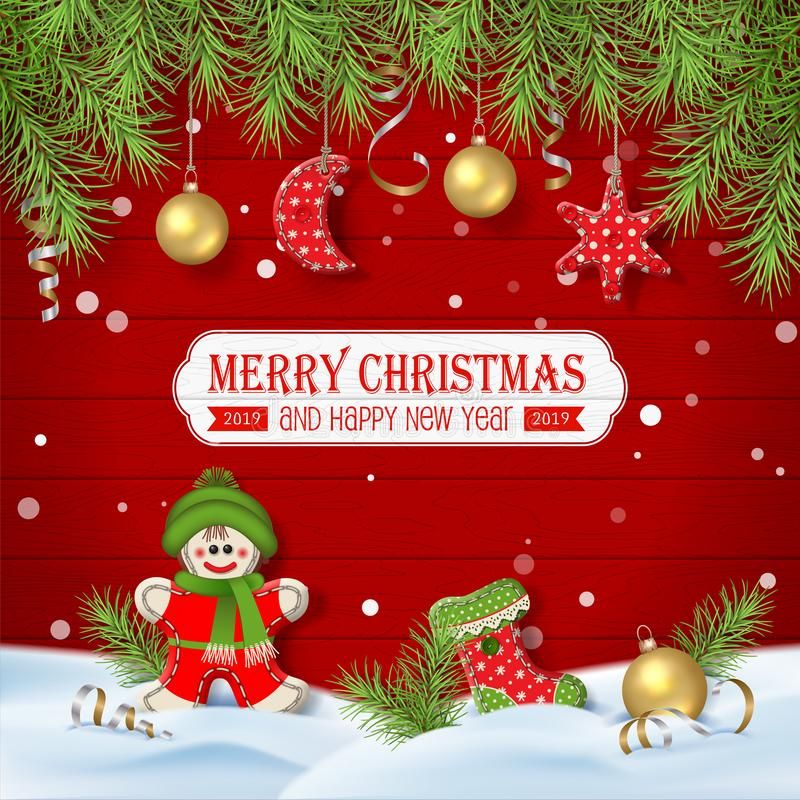 与装饰品的圣诞节背景 皇族释放例证