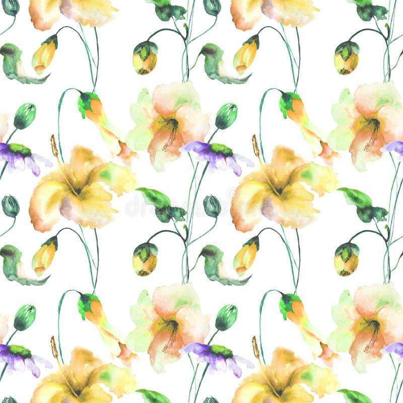 与装饰夏天花的无缝的样式 皇族释放例证