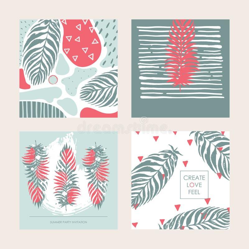 与装饰套的传染媒介集合在淡色的方形的卡片 设计热忱对夏天、热带和棕榈叶 哥斯达黎加的地方 向量例证