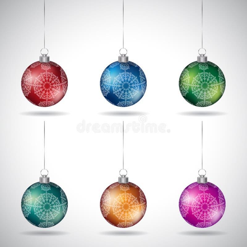 与装饰形状和银色串传染媒介的圣诞节球 皇族释放例证