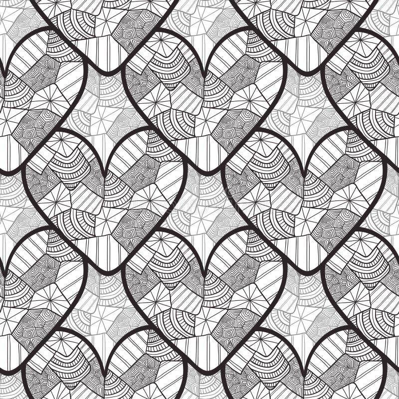 与装饰心脏的鞋带无缝的样式 为情人节包装纸,婚姻的邀请背景,纺织品fa构造 皇族释放例证