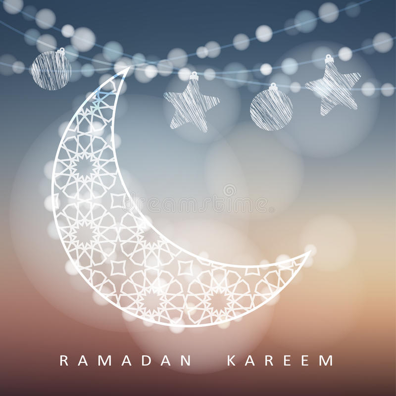 与装饰月亮、星、球和bokeh光的赖买丹月串 被弄脏的例证背景 赖买丹月卡片 向量例证