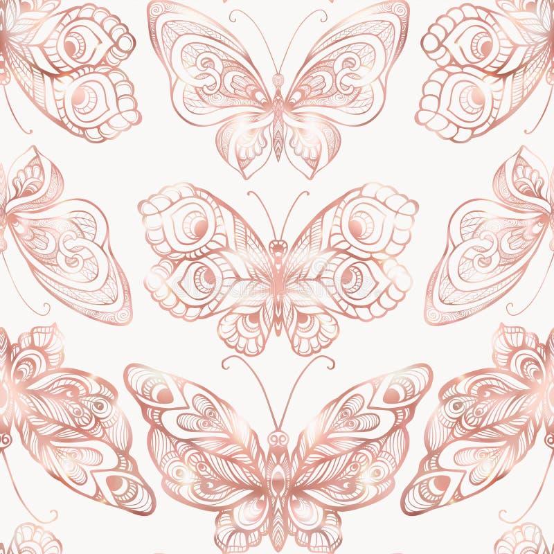 与装饰样式的蝴蝶 无缝的样式,背景 在玫瑰色金子颜色的图表 皇族释放例证