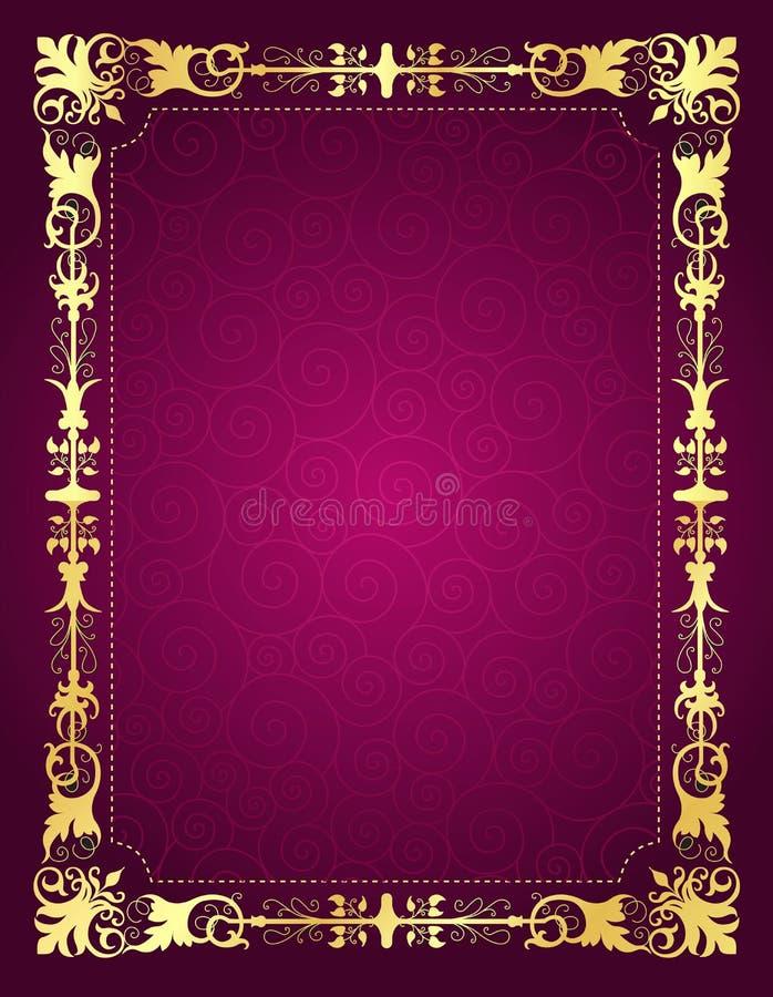 与装饰框架和背景的邀请卡片 库存例证
