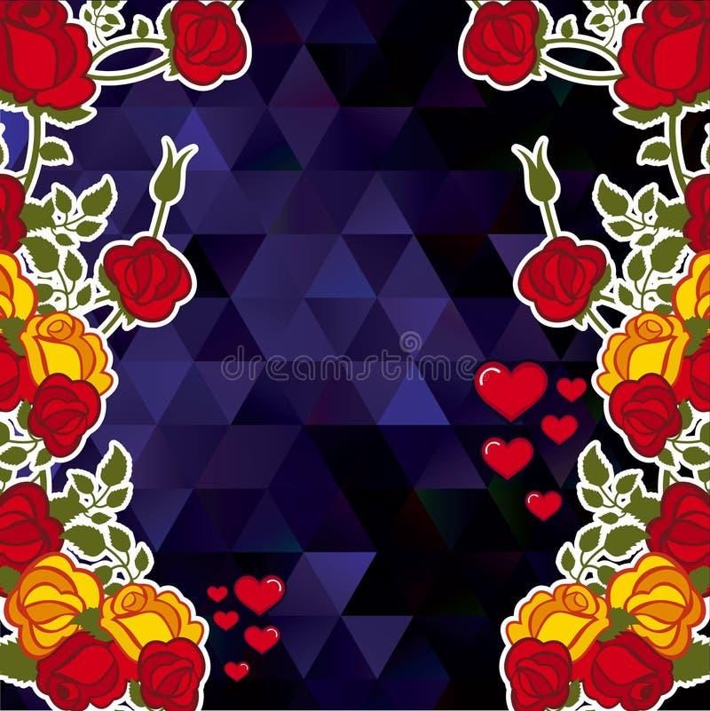 与装饰玫瑰和心脏的抽象马赛克背景 复制空间 传染媒介剪贴美术 皇族释放例证