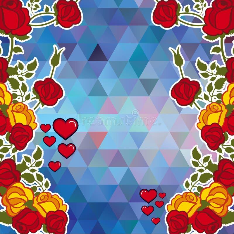 与装饰玫瑰和心脏的抽象马赛克背景 复制空间 传染媒介剪贴美术 库存例证