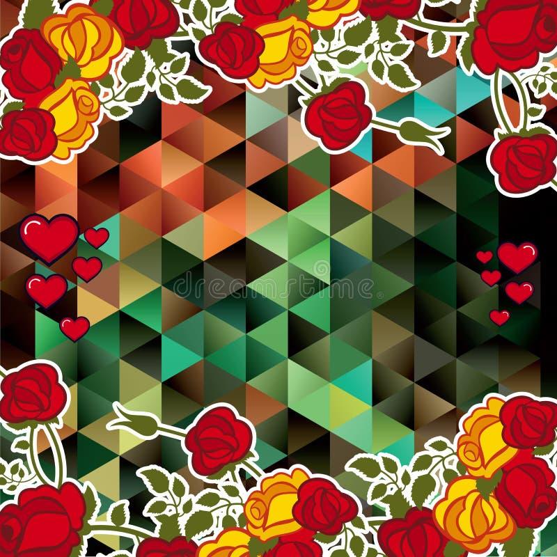 与装饰玫瑰和心脏的抽象马赛克背景 库存例证