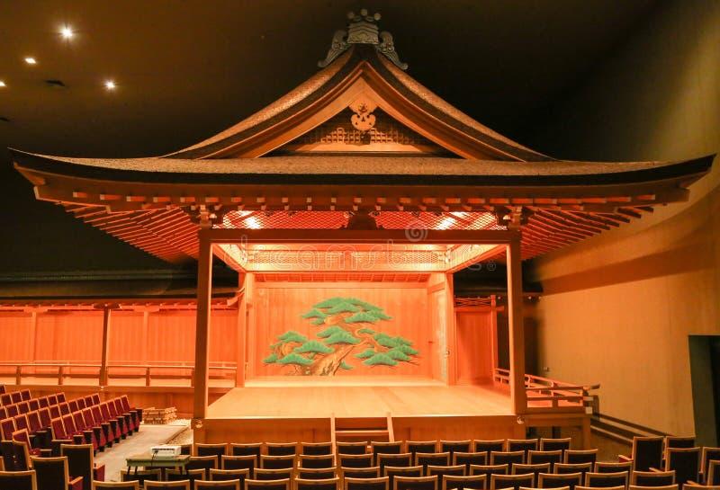 与装饰的传统日本人Kabuki Noh剧院阶段 免版税库存照片