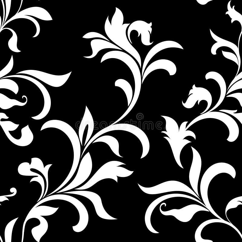 与装饰的典雅的无缝的样式在黑背景开花 例证百合红色样式葡萄酒 向量例证