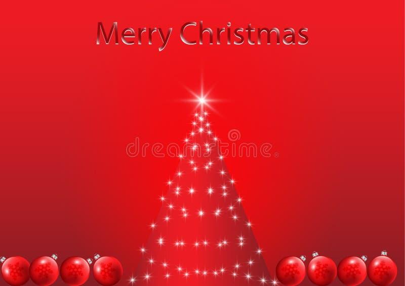 与装饰的圣诞树在红色背景 皇族释放例证