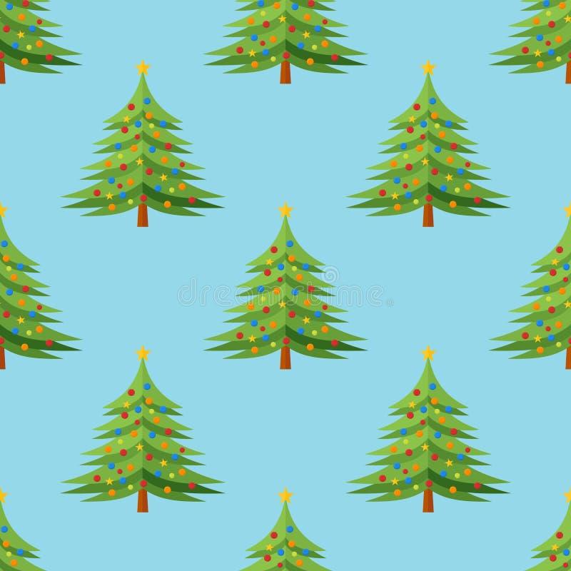 与装饰的圣诞树的无缝的样式在蓝色背景 皇族释放例证