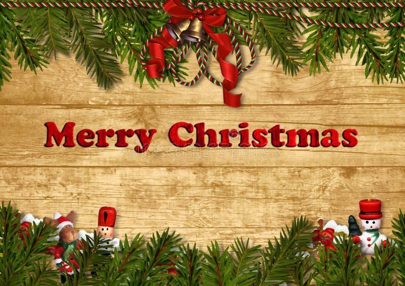 与装饰的圣诞节欢乐背景 皇族释放例证