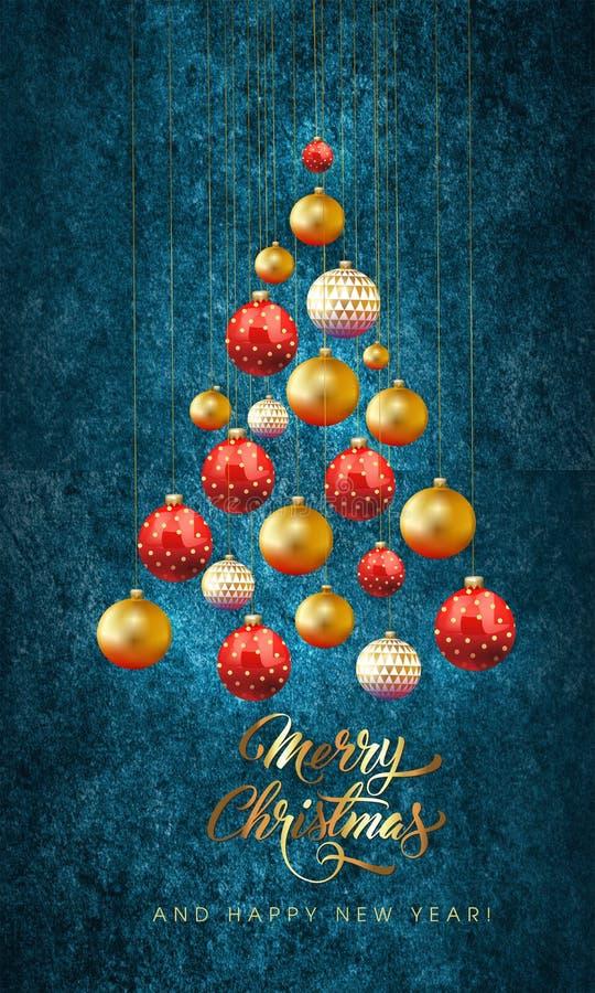 与装饰的圣诞节球的圣诞卡片 免版税库存图片