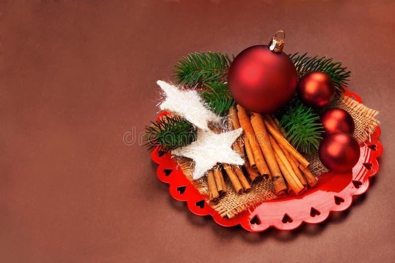 与装饰的圣诞节背景。 图库摄影